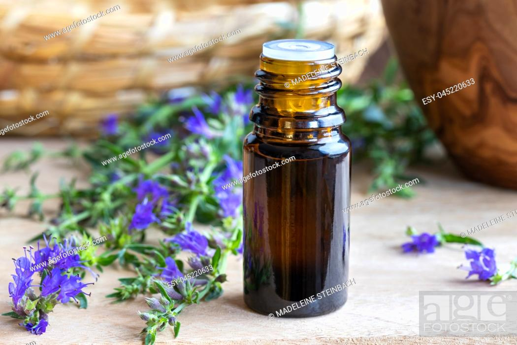 Stock Photo: A bottle of essential oil with fresh blooming hyssop twigs.