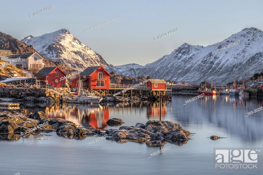 Stock Photo: Ballstad, Leknes, Lofoten; Norway; Europe;.