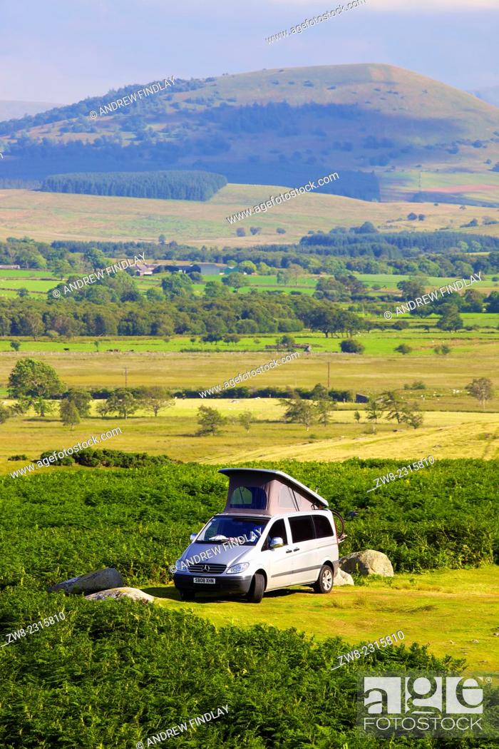 Stock Photo: Camper Van parked on moor The Lake District National Park, Cumbria, England, UK.