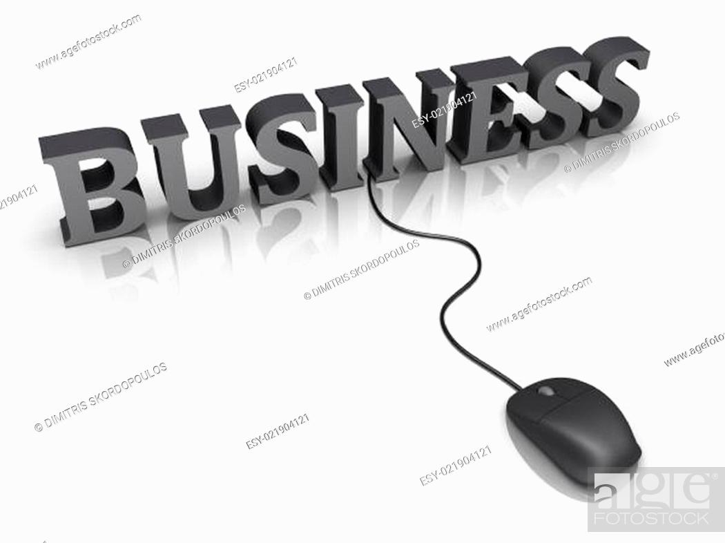 Stock Photo: Business word and a mouse connected to it.