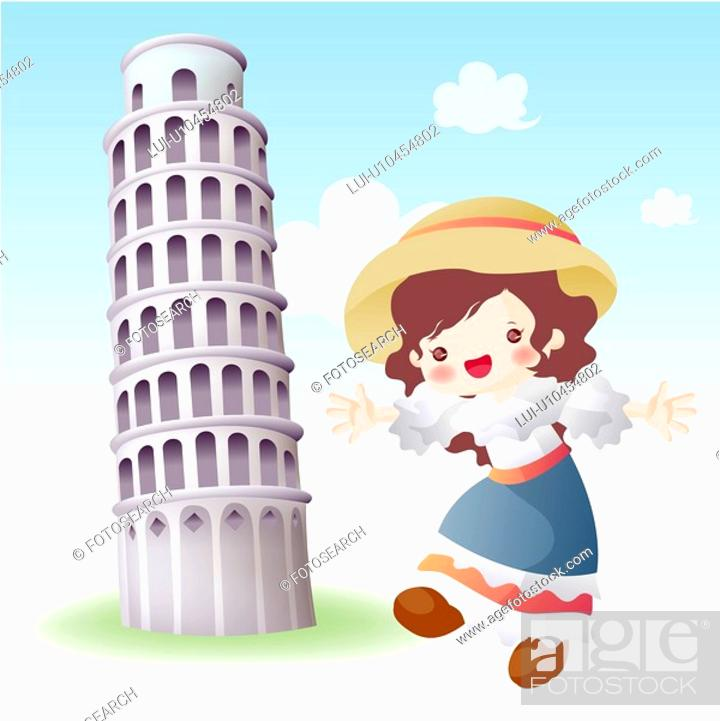Stock Photo: tourist attractions, tourism, sightseeing, national flag, map, italy.
