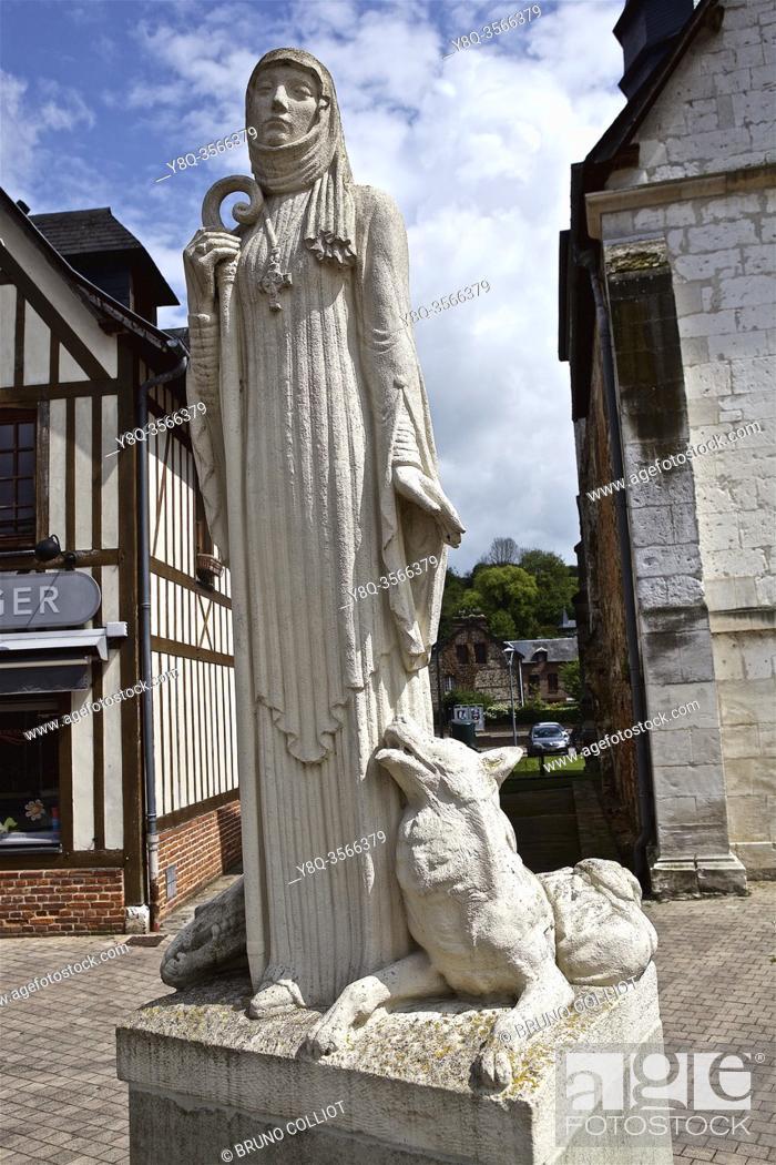 Stock Photo: Statue of Austreberthe de Pavilly, commune of Pavilly, France. . Austreberthe de Pavilly (Sainte Austreberthe) (born in 630 in Thérouanne.