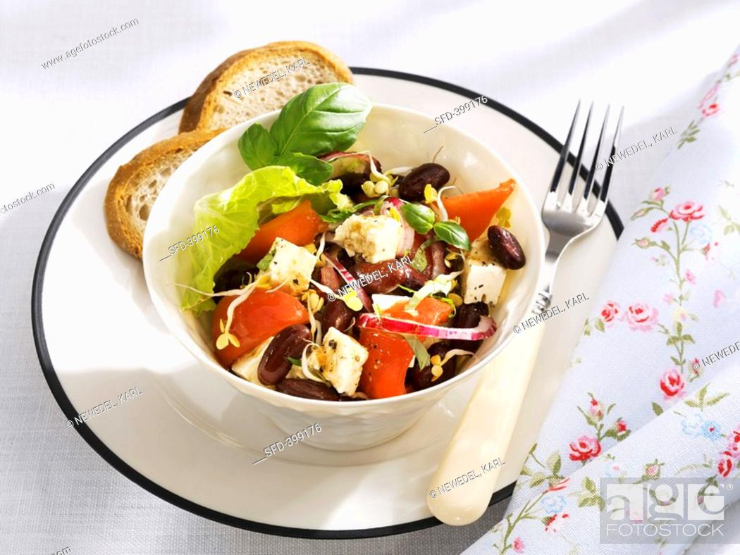 Stock Photo: Red kidney bean, sheep's cheese and pepper salad.