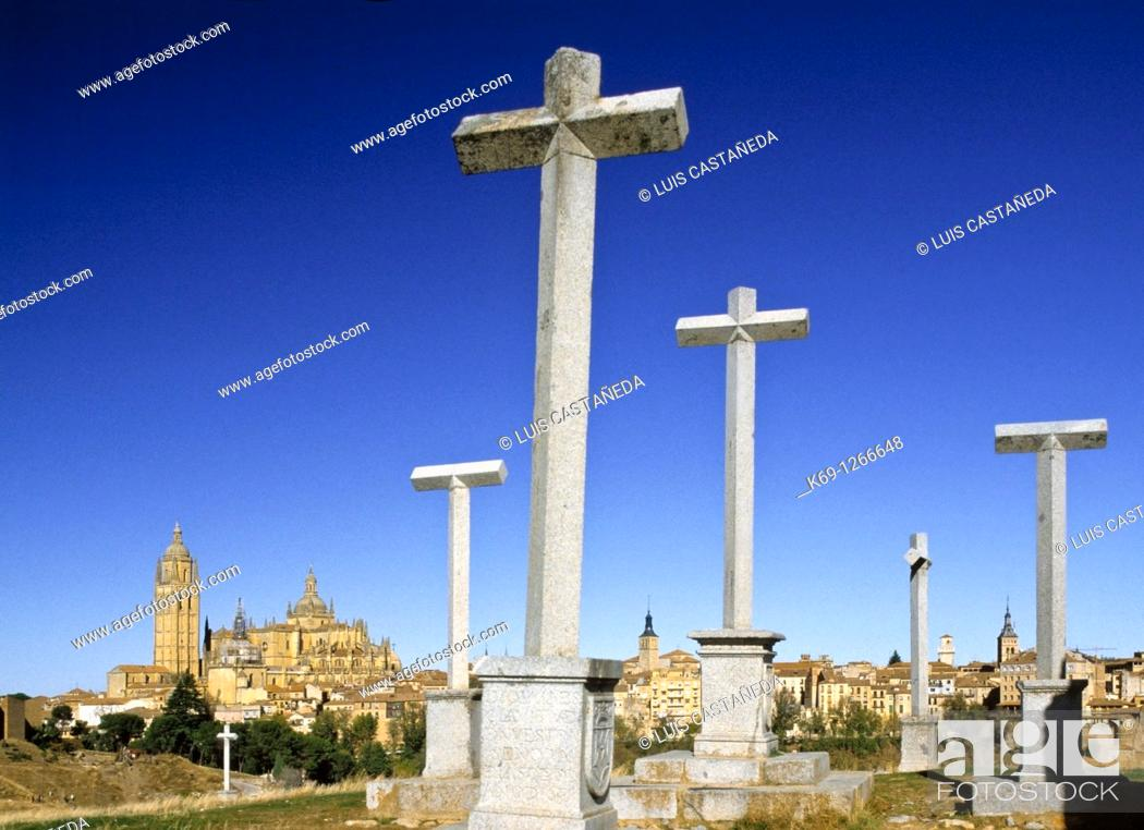 Stock Photo: Crosses and cathedral in background, Segovia, Castilla-Leon, Spain.