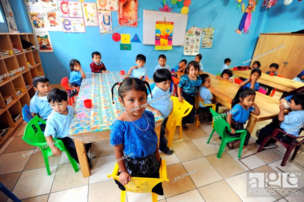 Stock Photo: Maya indigenous children in preschool in San Jorge La Laguna, Solola, Guatemala.