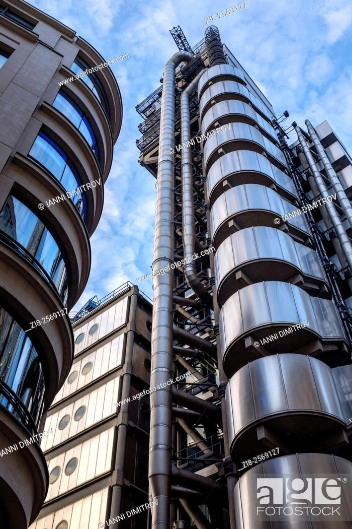 Stock Photo: Lloyd's building on Lime Street,architect Richard Rogers,Grade One listed building on Lime Street,City of London,England.