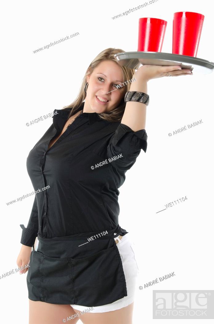 Stock Photo: Full figured waitress.