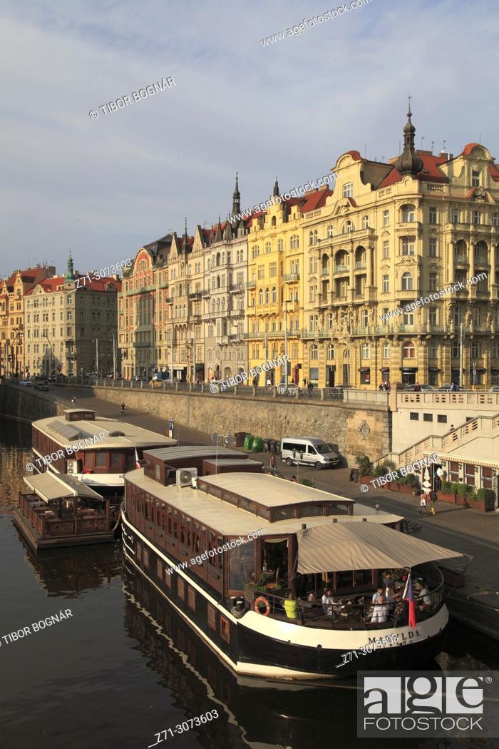 Stock Photo: Czech Republic, Prague, Masaryk Quay, historic architecture, Vltava River, boats,.