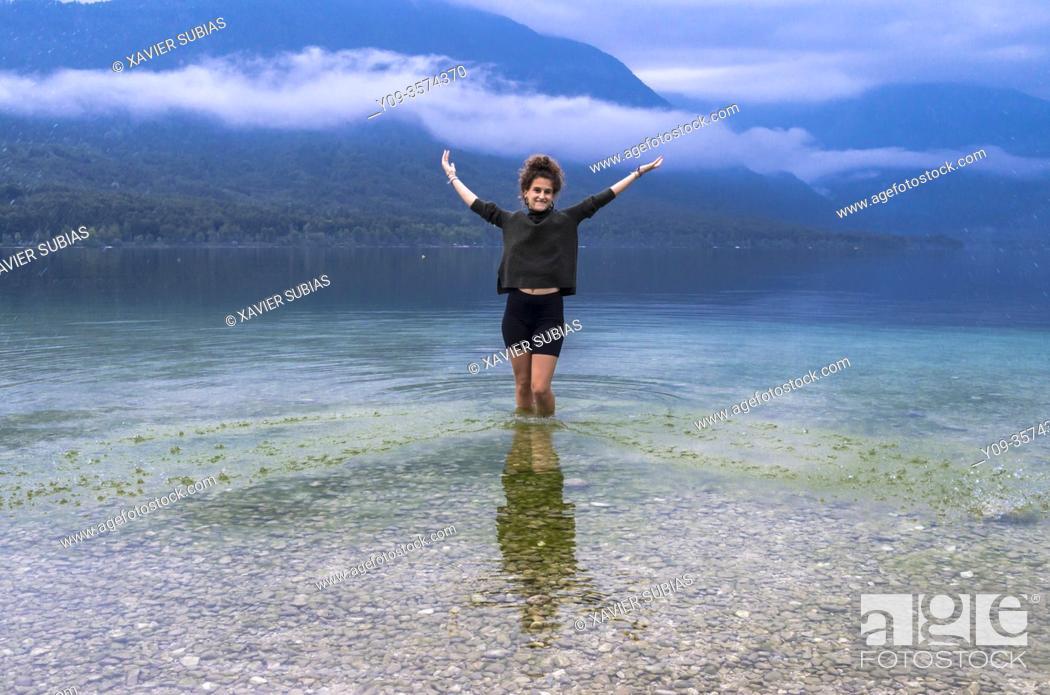 Stock Photo: Girl, Lake Bohinj, Municipality of Bohinj, Triglav National Park, Slovenia.