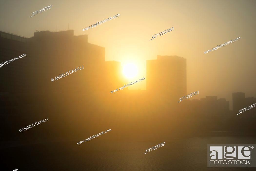 Stock Photo: Sunset over Abu Dhabi, UAE.