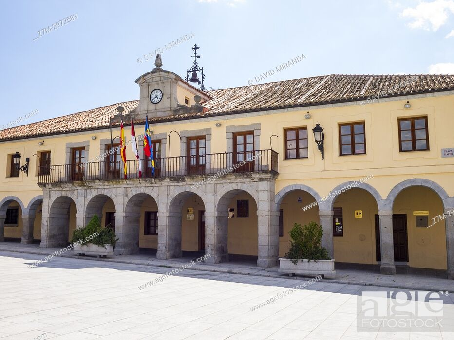 Stock Photo: Ayuntamiento de Villacastín. Segovia, Castile-Leon, Spain.
