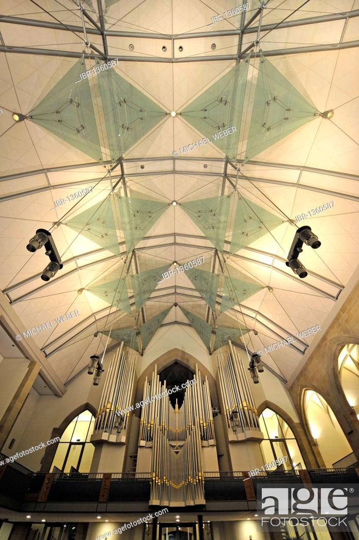 Stock Photo: New roof construction and new Muehleisenorgel orgab, interior of the Stiftskirche collegiate church, landmark and oldest Protestant church in Stuttgart.