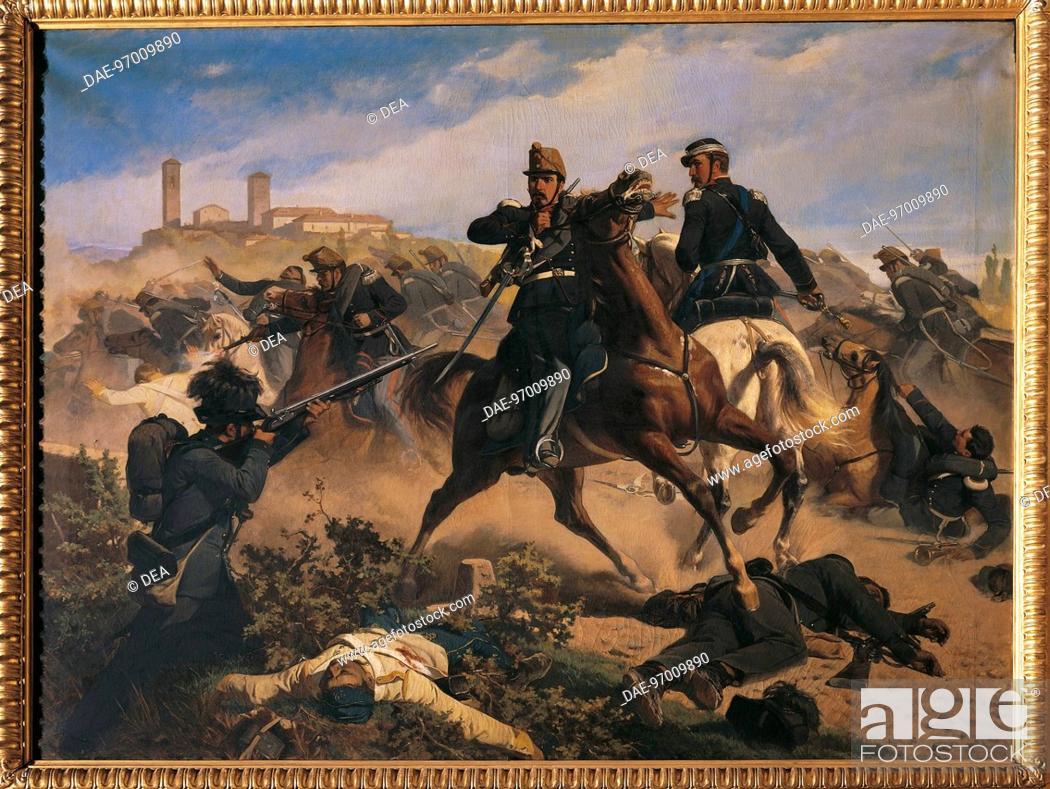 Stock Photo: Italy - 19th century, Second War of Independence - Marquis Fadini saves General De Sonnaz's life at Montebello, 20 May, 1859.