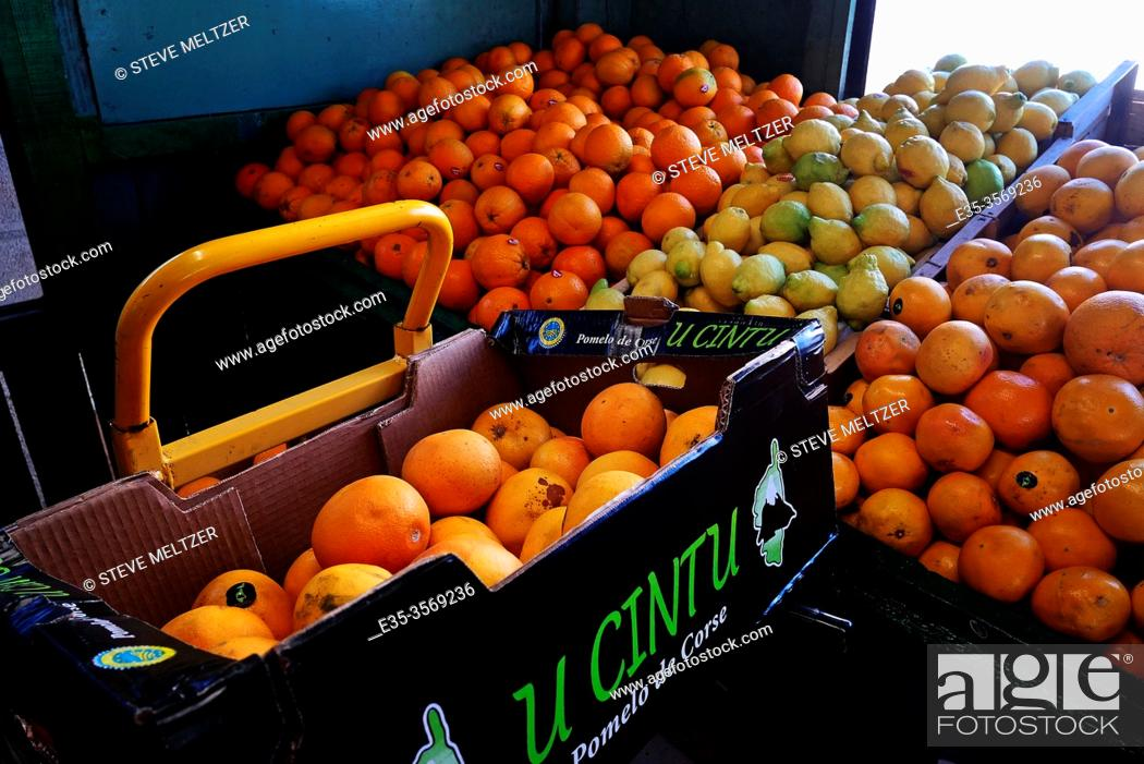 Stock Photo: Display of citrus fruit at a fruit stand in France.