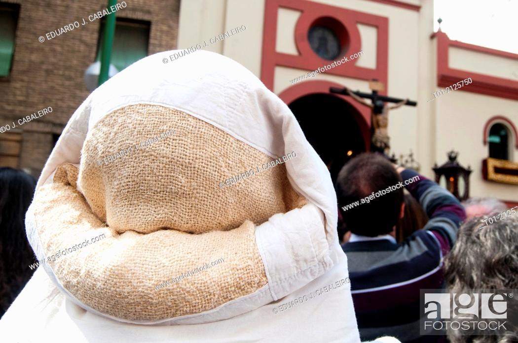 Stock Photo: costalero during Holy Week of Seville.