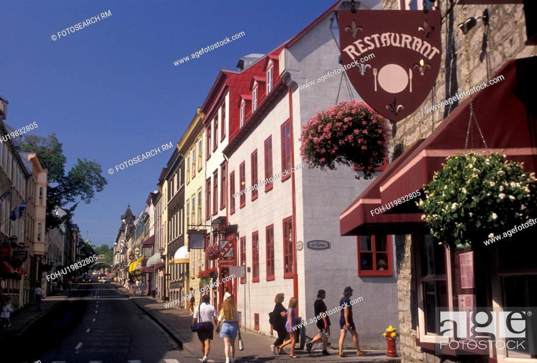 Quebec City Quebec Canada Restaurants And Boutiques Along Rue