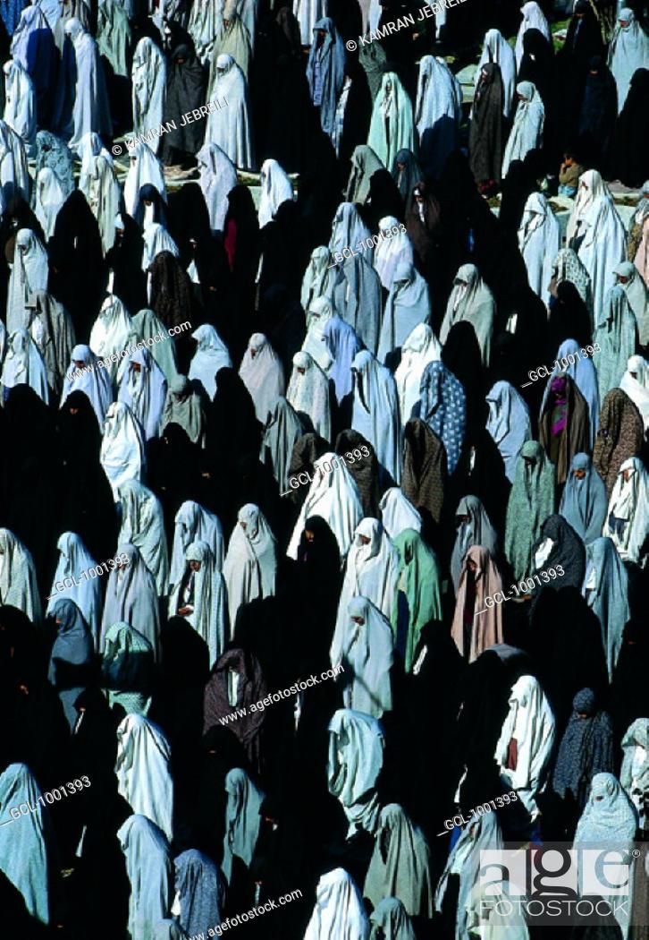 Stock Photo: Mass Friday prayer of women in Iran.