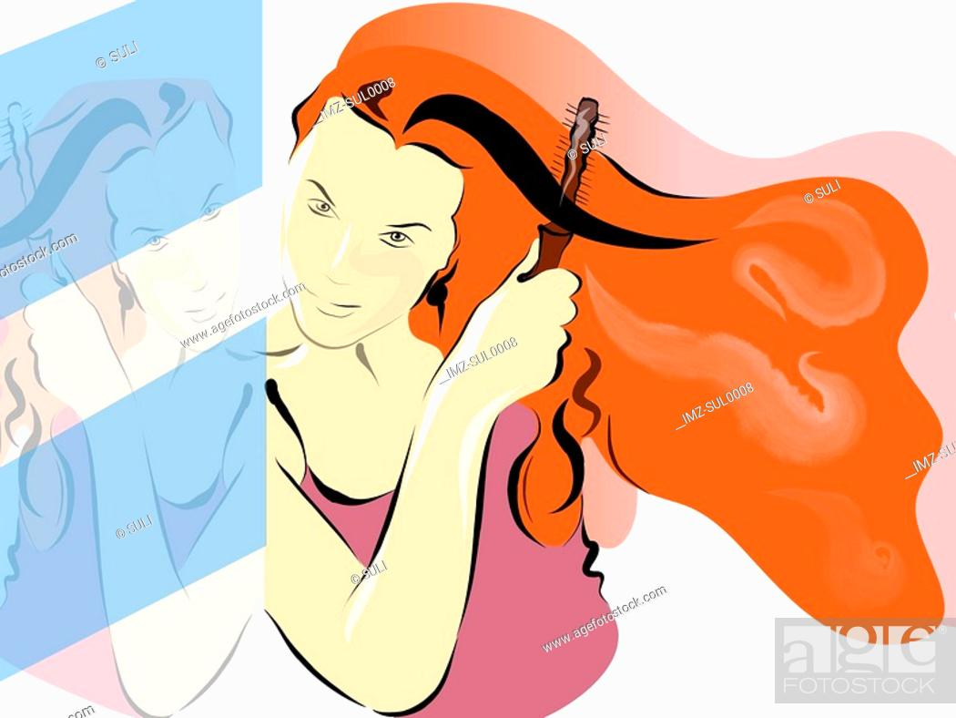 Stock Photo: Illustration of a woman brushing her long red hair.