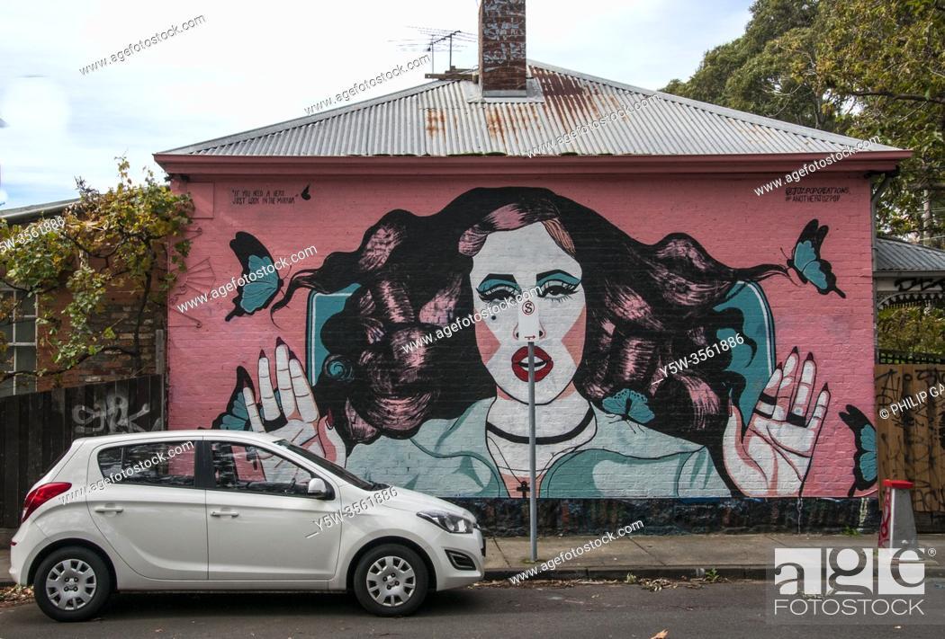 Stock Photo: Street art in inner-city Prahran, Melbourne, Australia.