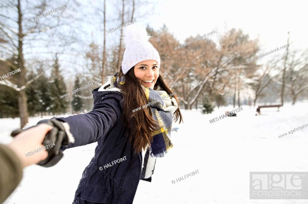 Stock Photo: Woman having fun ice skating.