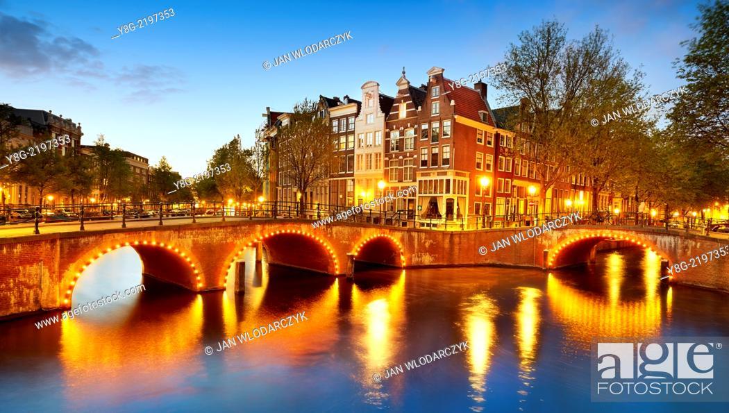 Stock Photo: Amsterdam canal - Holland Netherlands.