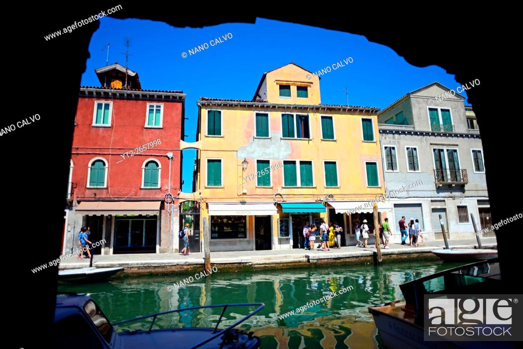 Stock Photo: Colourful buildings along the canals of Murano, Venice, Italy.