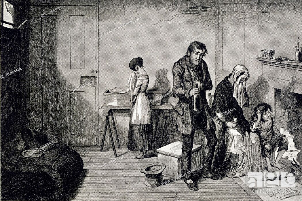 Stock Photo: A poor family in their living room. Image taken from The Bottle, and the Drunkard's Children. In sixteen plates designed and etched by G. Cruikshank..
