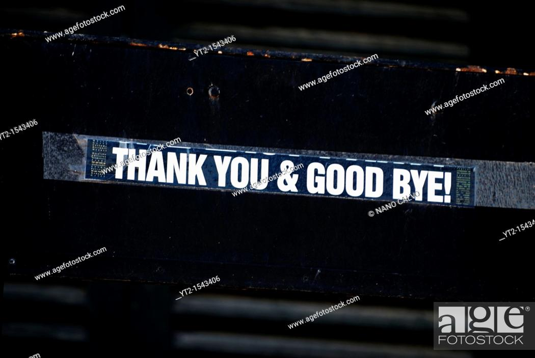 Stock Photo: Thanks you & Good Bye sticker in La Marina area of Ibiza, after the summer season that brings thousands of tourists to the islands.