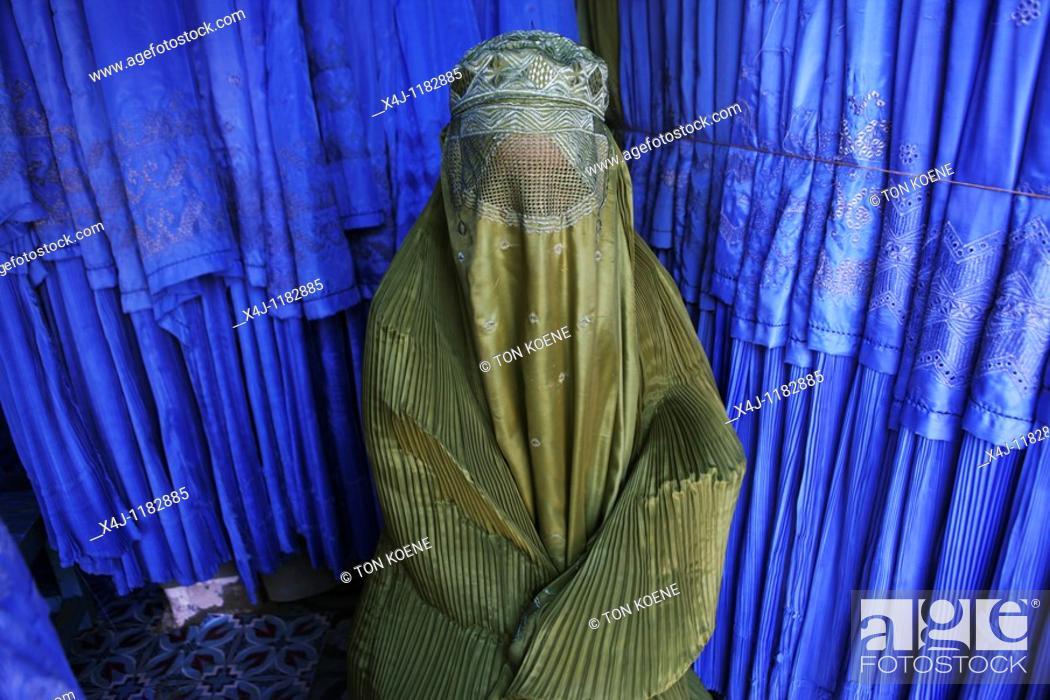 Stock Photo: burqa shop in Herat, Afghanistan.
