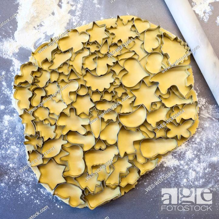 Many Cookie Cutters On Rolled Out Cookie Dough Stock Photo Picture