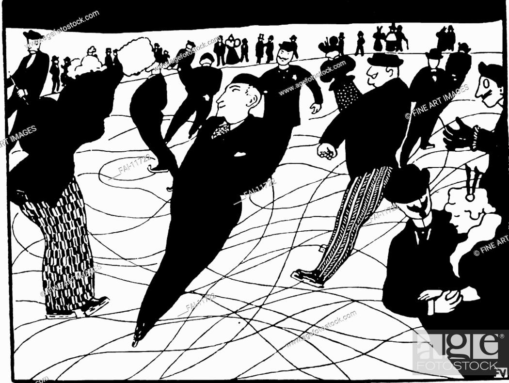 Stock Photo: Ice Skaters. Vallotton, Felix Edouard (1865-1925). Ink on paper. Caricature. 1896. Private Collection. Graphic arts. © VG-Bild-Kunst Bonn.