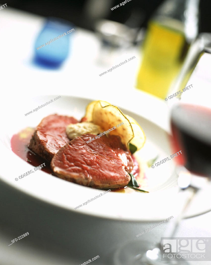 Stock Photo: Fillet steak with beetroot sauce.