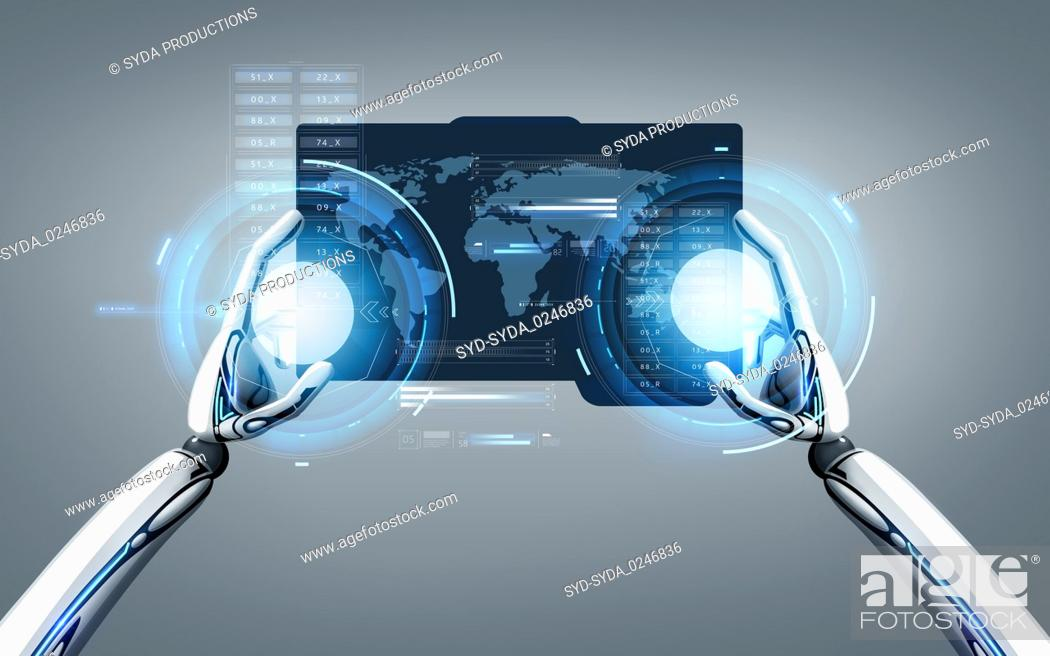 Stock Photo: robot hands with world map on tablet pc screen.