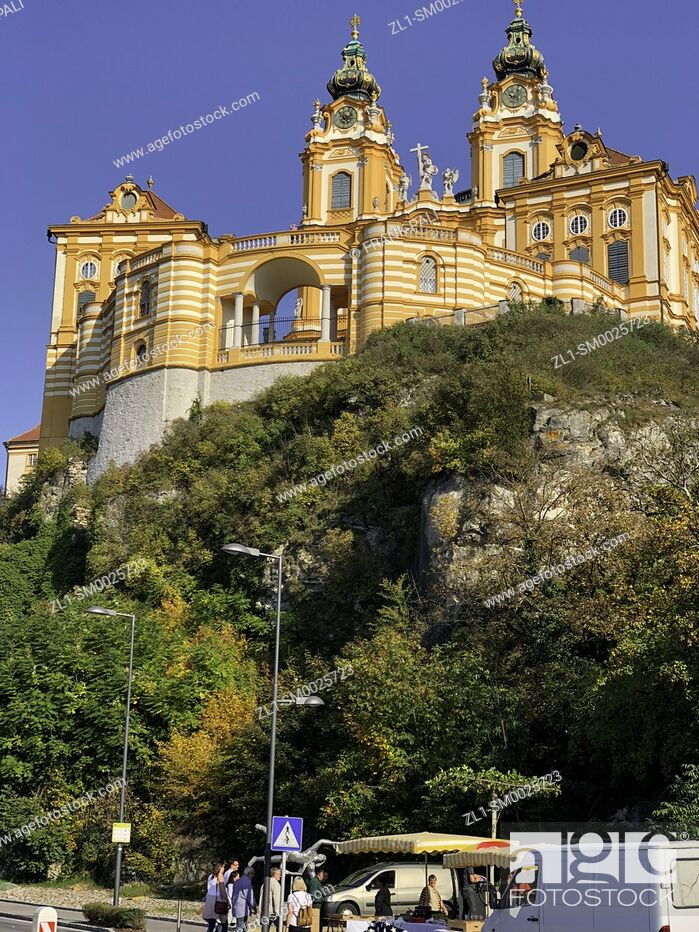 Stock Photo: Melk is an Austrian town on the River Danube, west of Vienna. It's known for the 11th-century Melk Abbey, a vast monastery built high above the town.