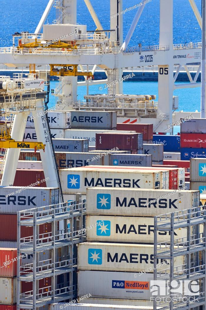 Stock Photo: Container ship, Commercial Port of Tangier MED, Strait of Gibraltar, Tangier, Morocco, Africa,.