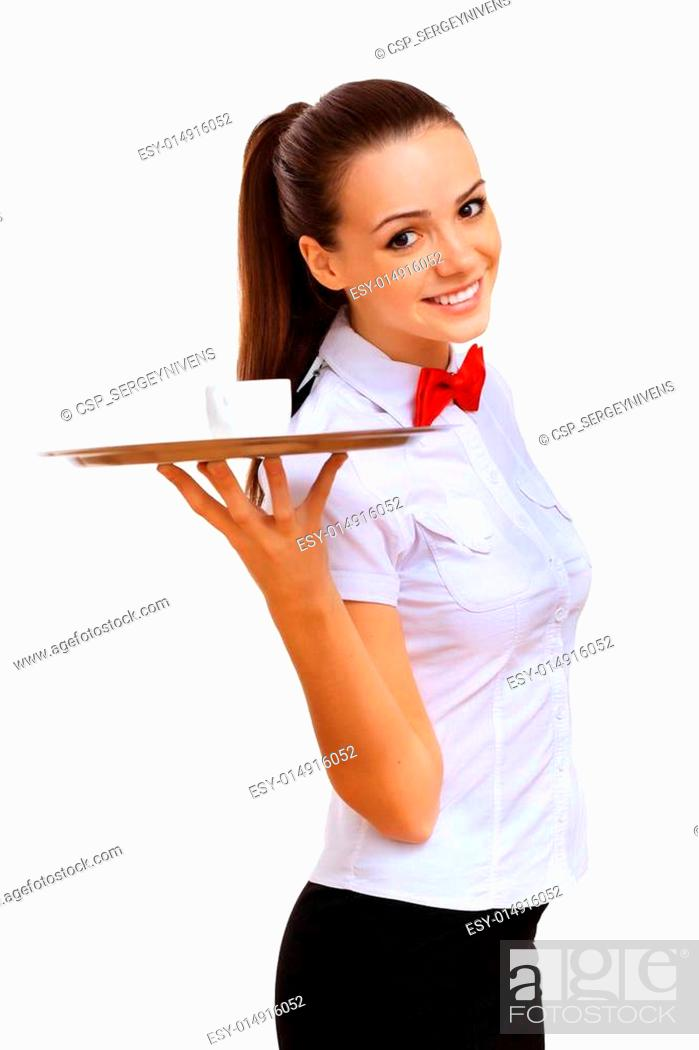 Stock Photo: Young waitress in a white blouse.