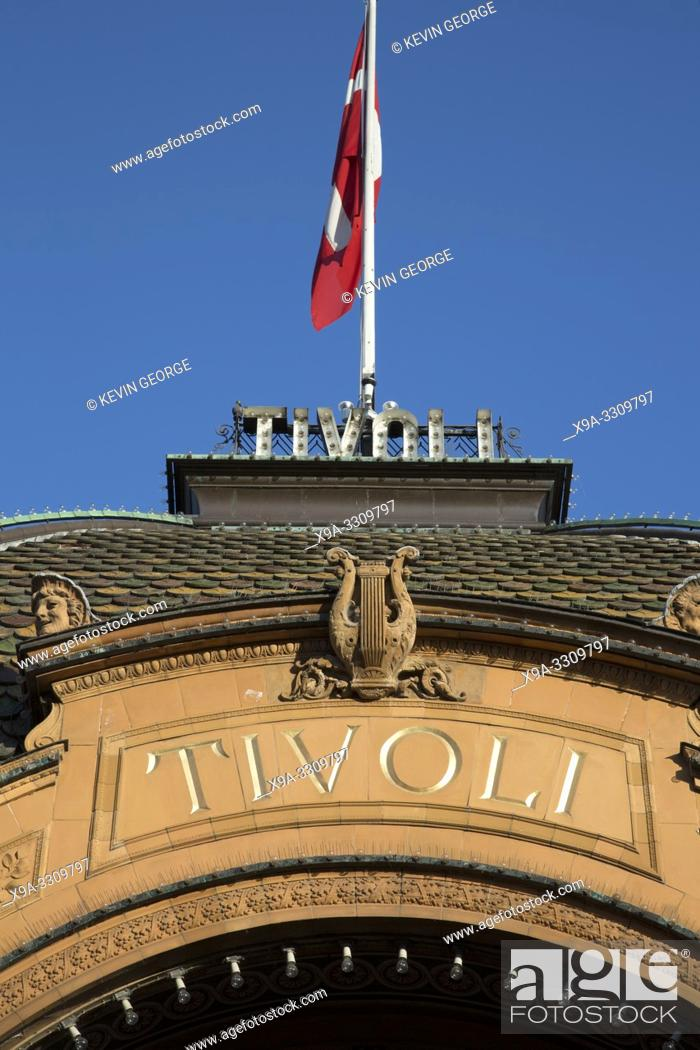 Stock Photo: Tivoli Theme Park Entrance Sign, Copenhagen; Denmark.