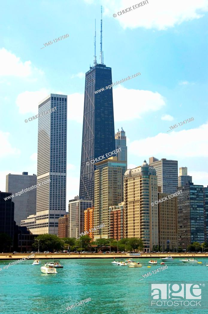 Stock Photo: Chicago Hancock Center as viewed from Lake Michigan.