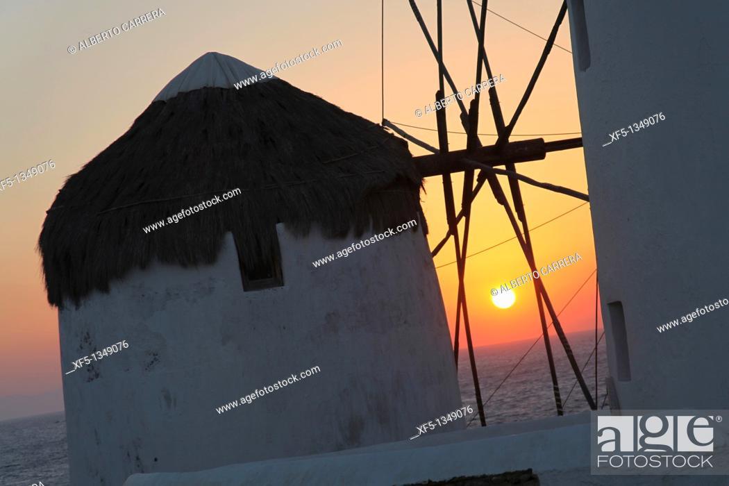 Stock Photo: Windmills, Mykonos, Cyclades Islands, Greece, Europe.