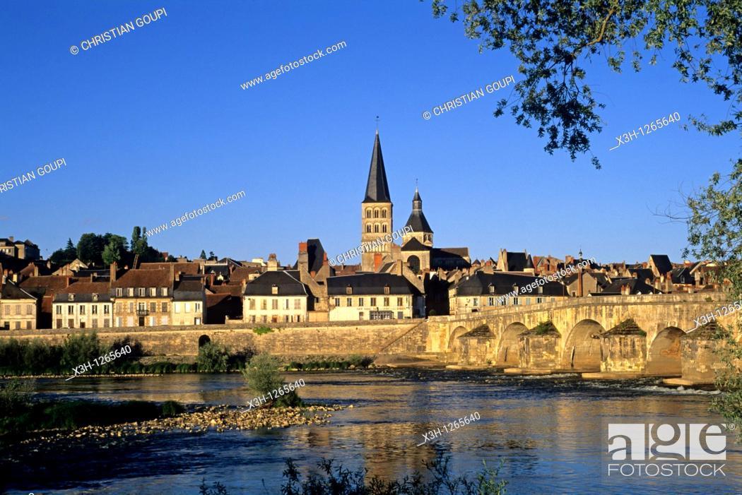 Stock Photo: La Charite-sur-Loire, Nievre department, region of Burgundy, center of France, Europe.