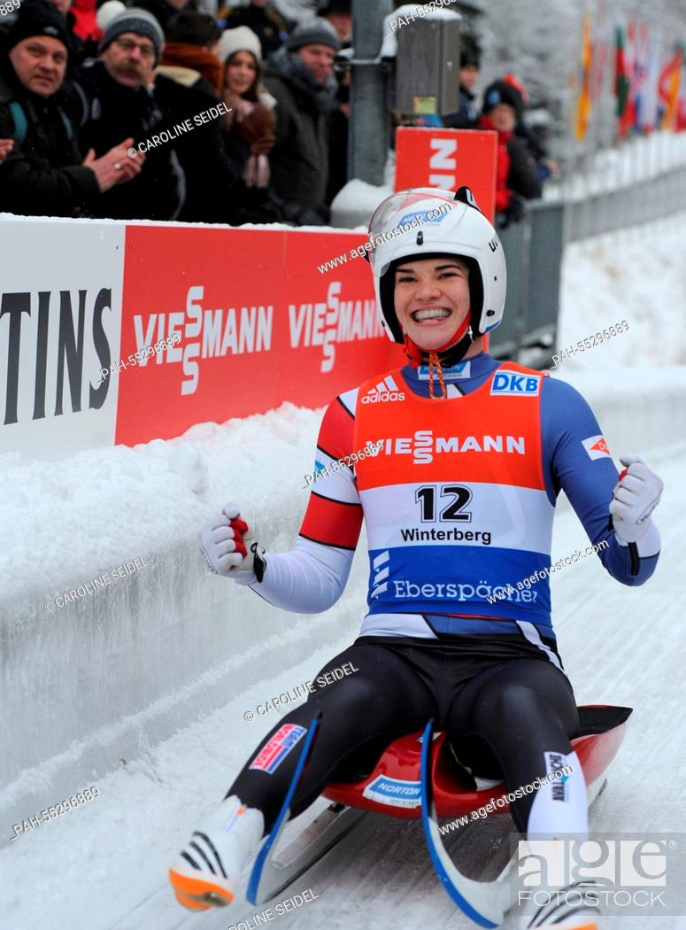Stock Photo: US-American luger Summer Britcher comes in at 4th place at the Women's Luge World Cup in Winterberg, Germany, 25 January 2015.