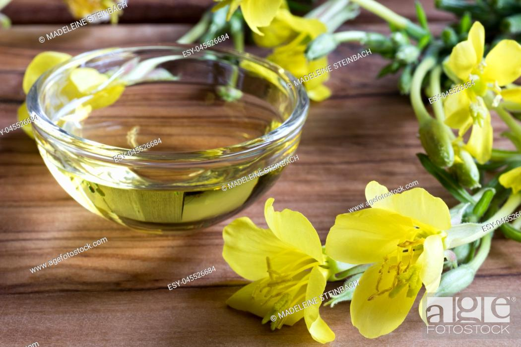 Stock Photo: Evening primrose oil in a glass bowl, with blooming evening primrose in the foreground.