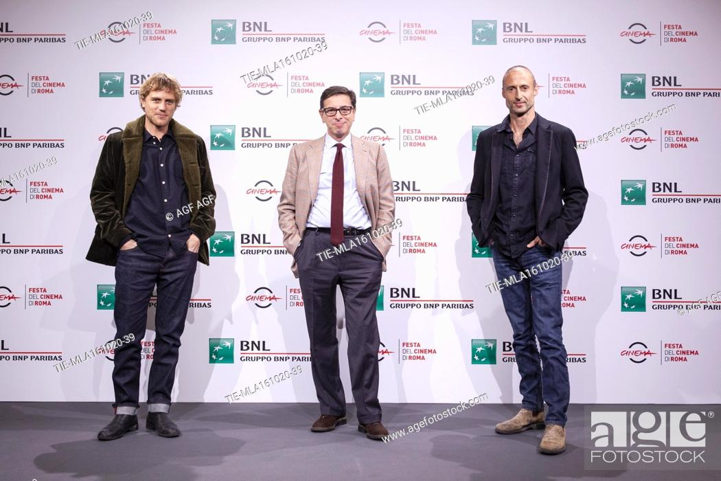 """Stock Photo: Johnny Flynn, Antonio Monda, Gabriel Range attends the photocall of the movie """"""""Stardust"""""""" during the 15th Rome Film Festival on October 16, 2020 in Rome, Italy."""