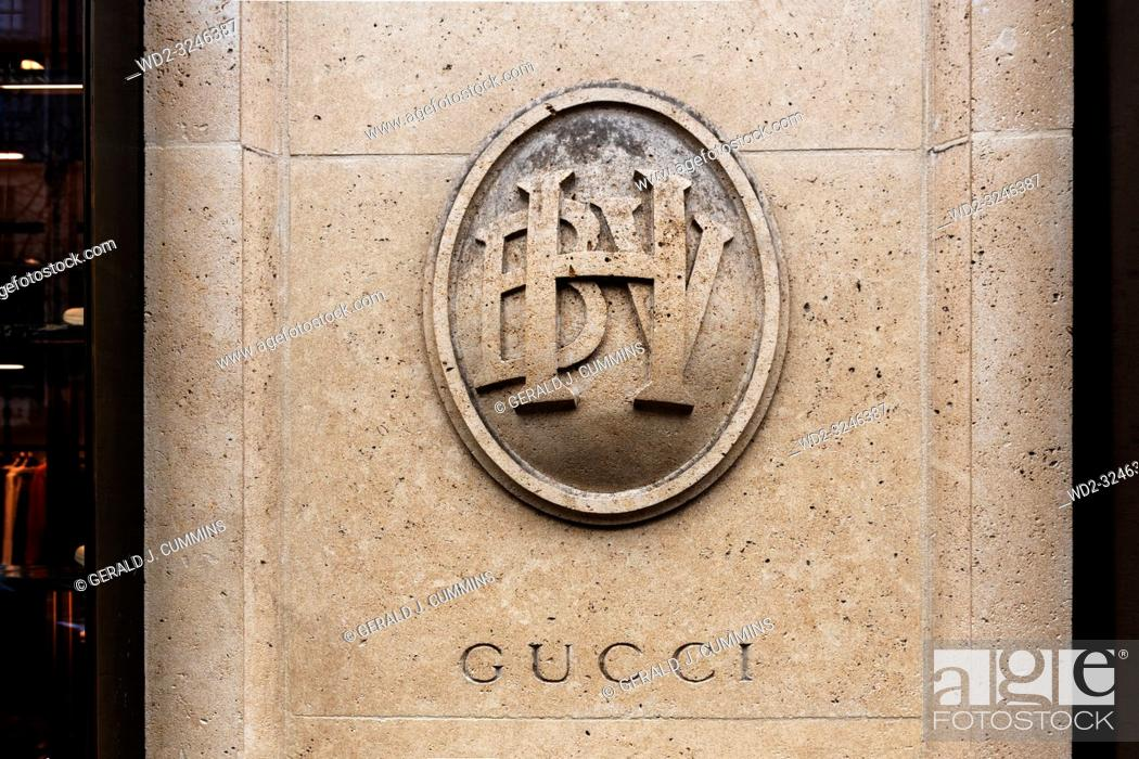 Stock Photo: Paris, 4th arrondissement, 2018, Bazar de l'Hôtel de Ville enterance with Gucci carved into the pillar.