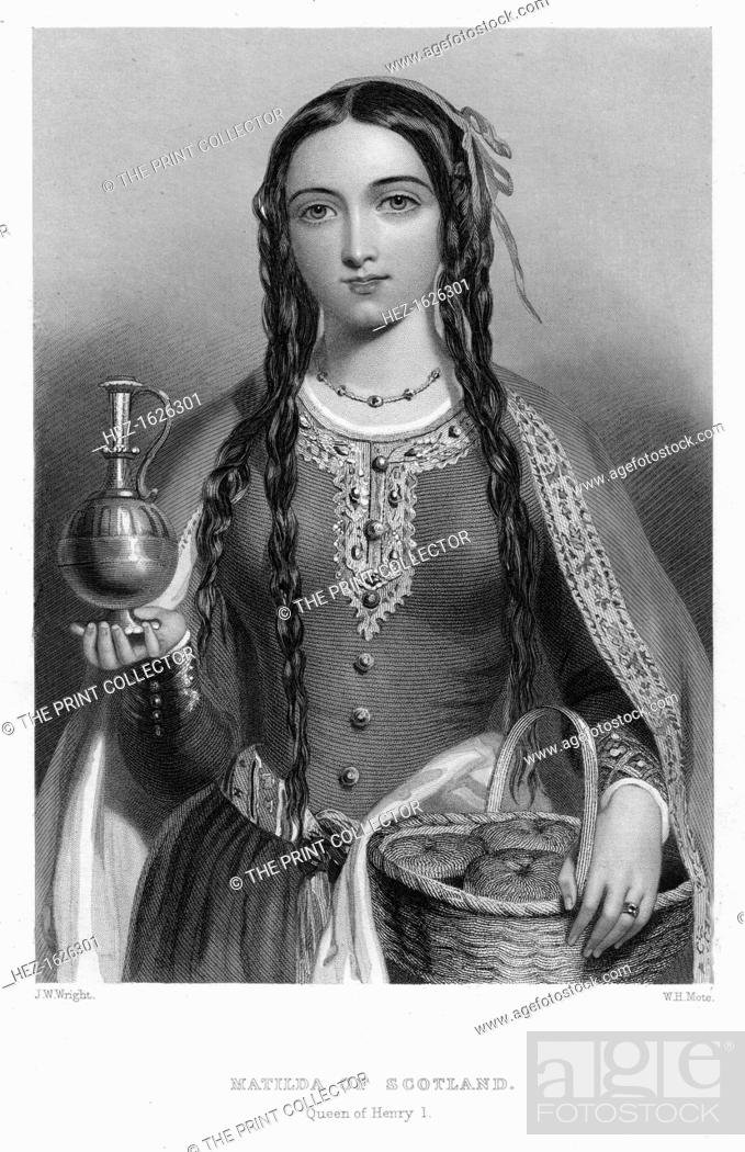 Stock Photo: Matilda of Scotland, Queen of Henry I, (c1850s). Matilda (1080-1118), daughter of Malcolm III of Scotland, married Henry I of England in 1100.