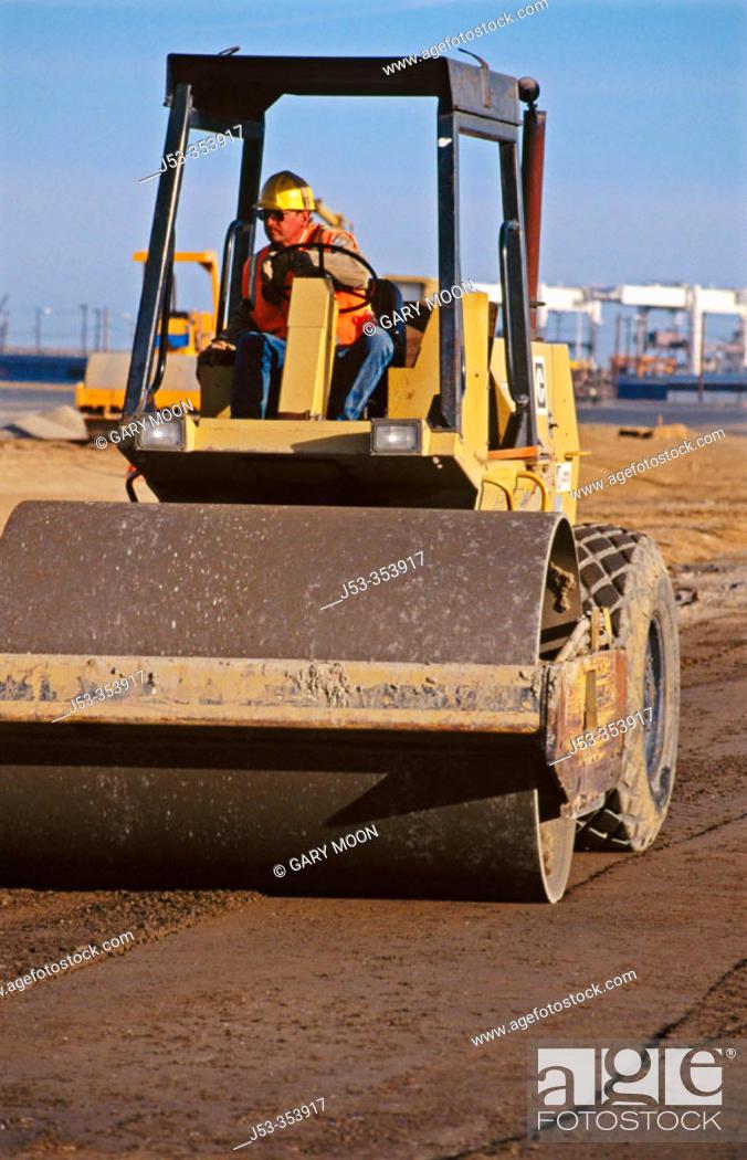 Stock Photo: Excavating machines, stabilizing roadbed. I-880 Cypress project. Oakland, California. USA.