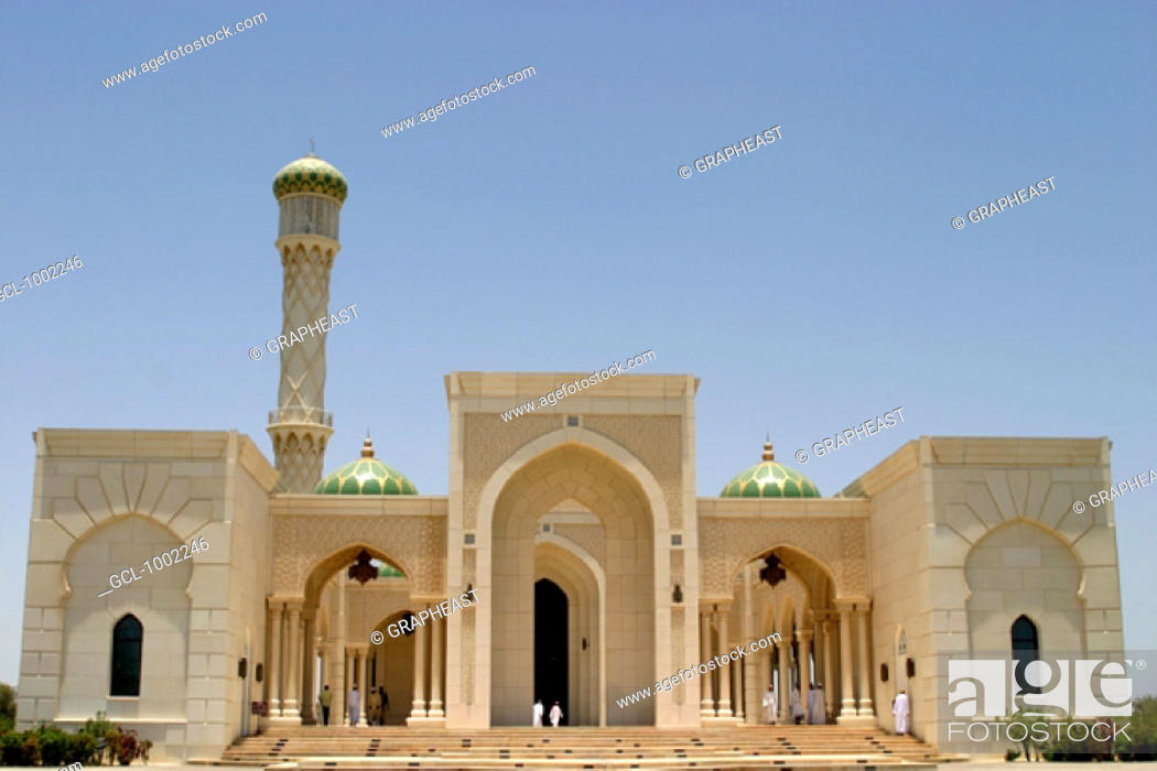 Stock Photo: Omani people at a mosque in Seeb, Oman.