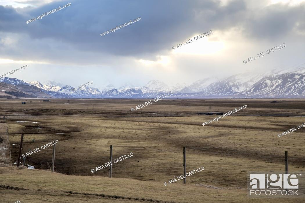 Stock Photo: Winter landscape in Hvolsvöllur, Iceland.