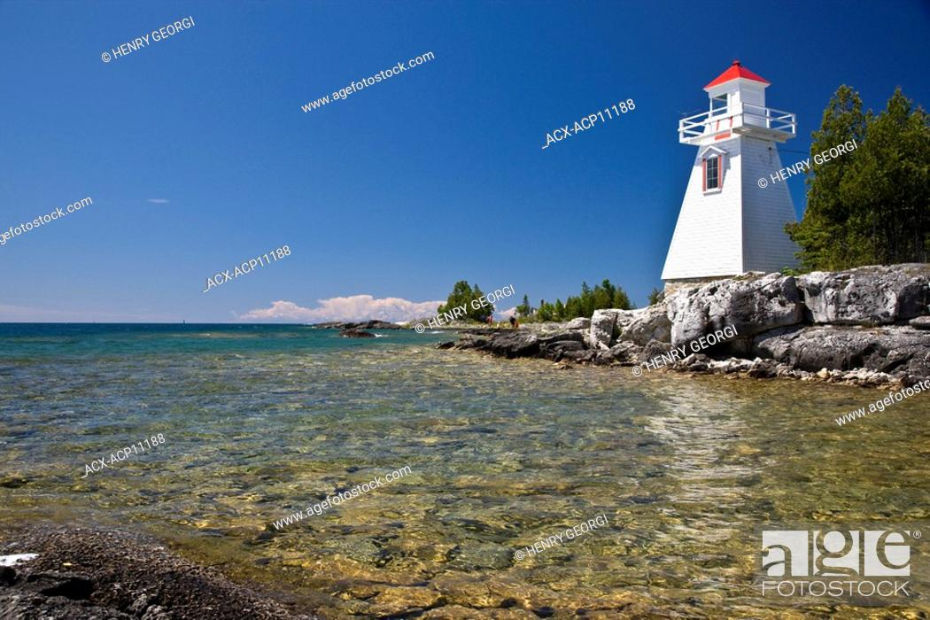 Stock Photo: Lighthouse at South Baymouth, Manitoulin Island, Ontario, Canada.
