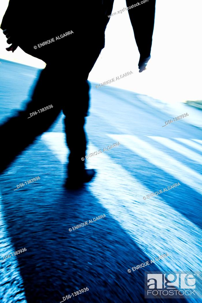 Stock Photo: Pedestrian and Zebra crossing.